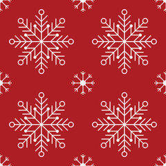 Snowflakes red symmetrical seamless pattern