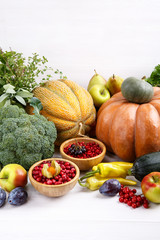 Autumn harvest vegetables, fruits, berries and herbs on white background.
