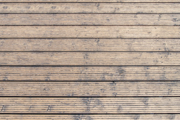 Harbor board and deck path made of wood in Rhodes at sunny summer day