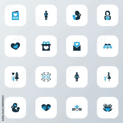Mothers Day Colorful Icon Design Concept Set Of 16 Such Elements As