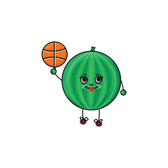 vector flat sketch striped fresh ripe watermelon character with eyes, hands and legs playing basketball. Isolated illustration on a white background. Healthy vegetarian eating, dieting sport lifestyle