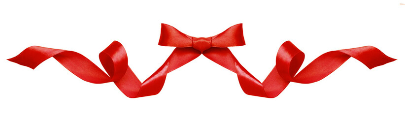 Red silk ribbon bow