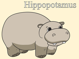 Learn the name of African animals. Inscription Hippopotamus. Educational game vector