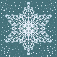 Big ornamental snowflake Christmas card