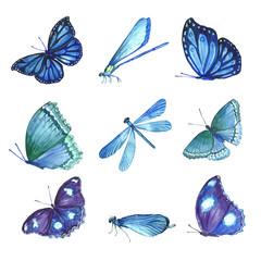 Set of beautiful watercolor butterflies.