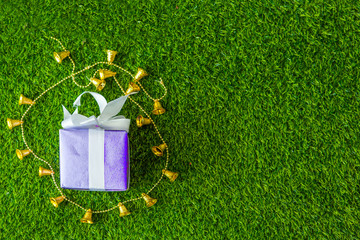 Purple gift box with golden bell on green grass background with copy space