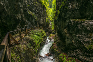 Walking through the Wolfsklamm Canyon in the Karwendel Alps, Stans in Tyrol, Alps, Tyrol, Austria, Europe