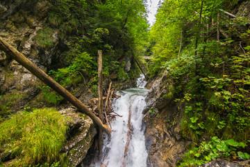 Walking through the Wolfsklamm Canyon in the Karwendel Alps, Stans in Tyrol, Alps, Tyrol, Austria, Europe