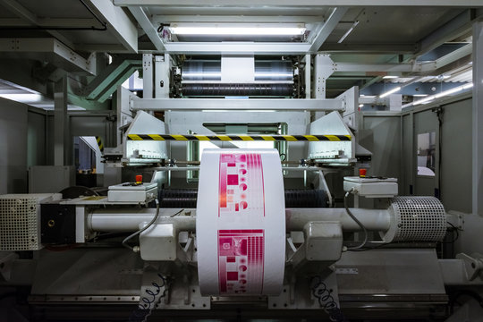 Flexography Roll Material Printed Sheets Cylinder Production Industrial Magenta Rollers Printer Industry Commercial Heavy Flourescent Lights Machine