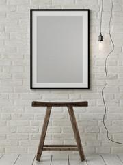 Mock up poster, wooden chair, light bulb, 3d illustration, 3d render