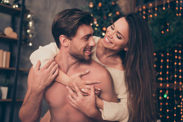 Celebrate christmastime, embrace, brunette lady rides married brunet partner on rear, cuddle, cute feelings, horny hot naughty passion, temptation pleasure, smooth skin, intense, tender