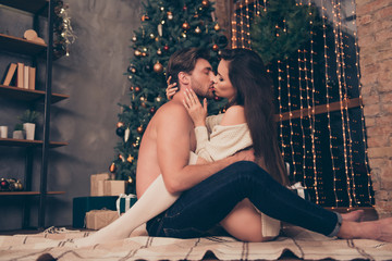 Side profile view of brunet partner with bristle hold cuddle sensual sexual his brunette lady, cute feelings, horny hot naughty passion, temptation pleasure, celebrate christmastime
