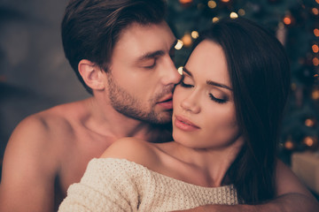 Closeup of brunet partner with bristle hold his brunette from back, cute feelings, horny hot naughty passion, temptation pleasure, smooth skin, intense, tender, celebrate christmastime