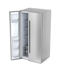 Side-by-side refrigerator with opened door