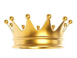 Shiny gold crown isolated on white background.