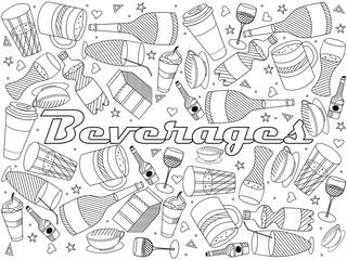 Beverages line art design vector illustration