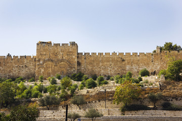 Famous Golden Gate in the walls of the Old City of Jerusalem , Israel