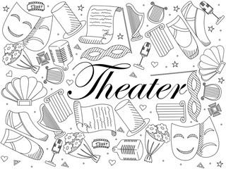 Theater line art design vector illustration