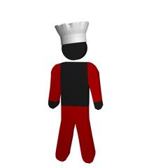 Figur eines Kochs in rot-weiß mit Kochmütze