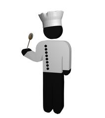 Figur eines Kochs in rot-weiß mit Kochjacke, Kochmütze und Kochlöffel
