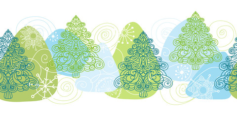 Drawn winter seamless pattern with Christmas trees