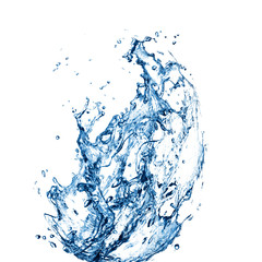 Blue water splashes over white background. 3D illustration