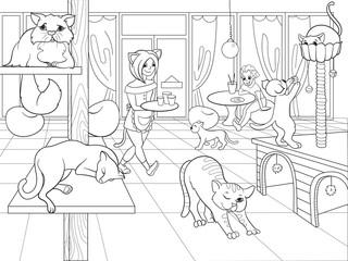 Beautiful interior of modern cat cafe for people cartoon raster illustration