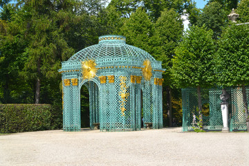 View of the Mesh pavilion in the park of Sanssousi. Potsdam, Germany