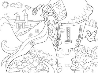 Princess Rapunzel in the stone tower coloring for children cartoon raster illustration
