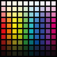 Hundred different colored squares - color spectrum pattern in various saturation from light to dark - square size format vector illustration on black background.