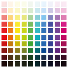 Color spectrum chart with hundred different colors in various saturation from light to dark - square size format vector illustration on white background.
