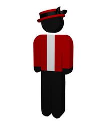 Figur mit Hut auf weiß isoliert