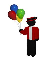 Luftballonverkäufer mit Hut auf weiß isoliert