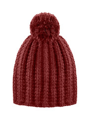Brown woolen winter cap hat with a pom pom pompon isolated on white