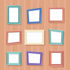 Vector vintage cartoon photo picture creative wall frames. Set of cartoon picture frames. Global colors - easy to change. Color rectangle portrait wall frames vector set.