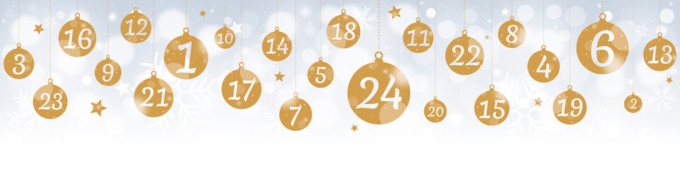 Advent calendar with hanging gold balls on bokeh