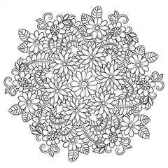 Vector flower mandala in black and white. Round pattern for coloring