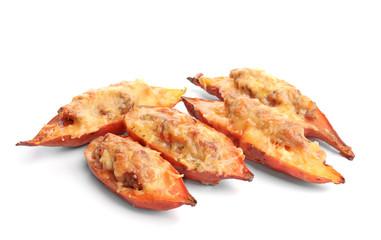 Yummy stuffed sweet potato on white background