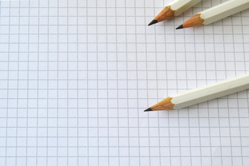 White pencils on white paper background