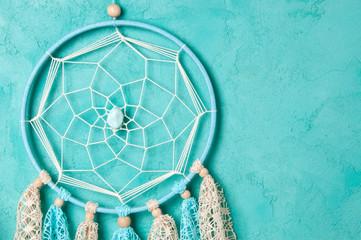 Bedroom decor on aquamarine