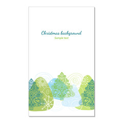 Drawn winter background  with Christmas trees