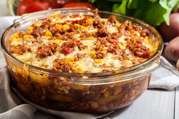 Mexican potato casserole with minced meat