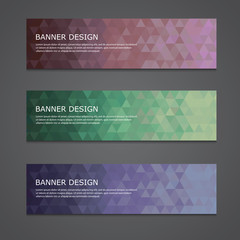 abstract set of shiny polygonal banners. Vector, EPS 10