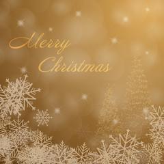 Christmas time. Christmas trees and snowflakes. Text : Merry Christmas