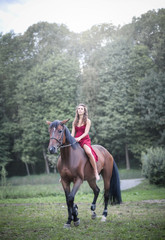 Beautiful girl riding a horse in a forest