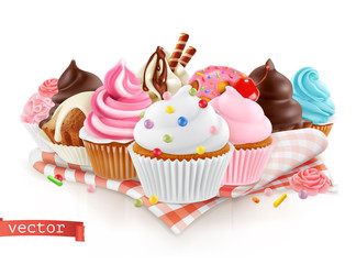 Pastry shop, confectionery. Sweet dessert. Cake, cupcake. 3d realistic vector