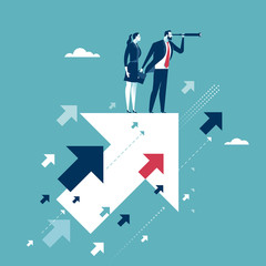 Searching for opportunities. Businesscouple standing on flying arrows. Concept business illustration
