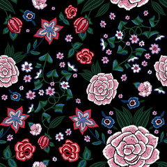 Embroidery ethnic seamless pattern with simplify flowers.