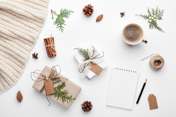 Christmas planning background. Prepare to winter holidays. Top view, flat lay.