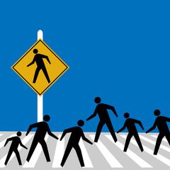 Pictogram figures walk on a crosswalk in a surreal humorous minimalist illustration.